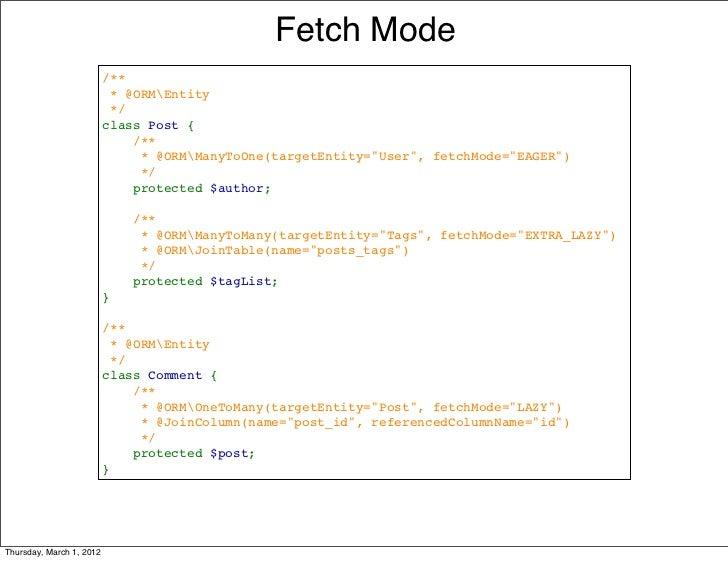 Fetch Mode                          /**                          *@ORMEntity                          */               ...