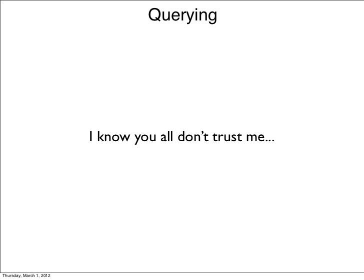 Querying                          I know you all don't trust me...Thursday, March 1, 2012