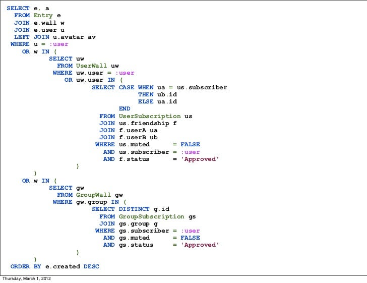 SELECT  e, a   FROM  Entry e   JOIN  e.wall w   JOIN  e.user u   LEFT  JOIN u.avatar av  WHERE  u = :user     OR  w IN (  ...