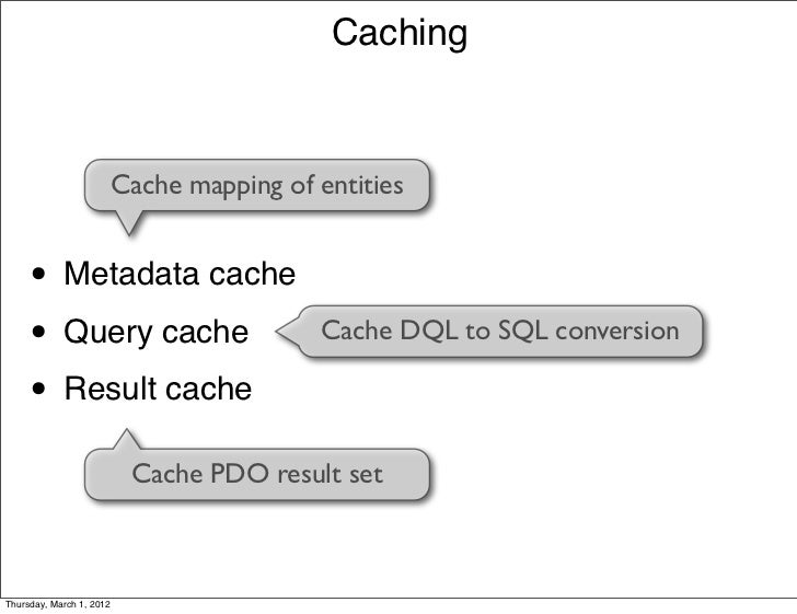 Caching                      Cache mapping of entities     • Metadata cache     • Query cache                       Cache ...