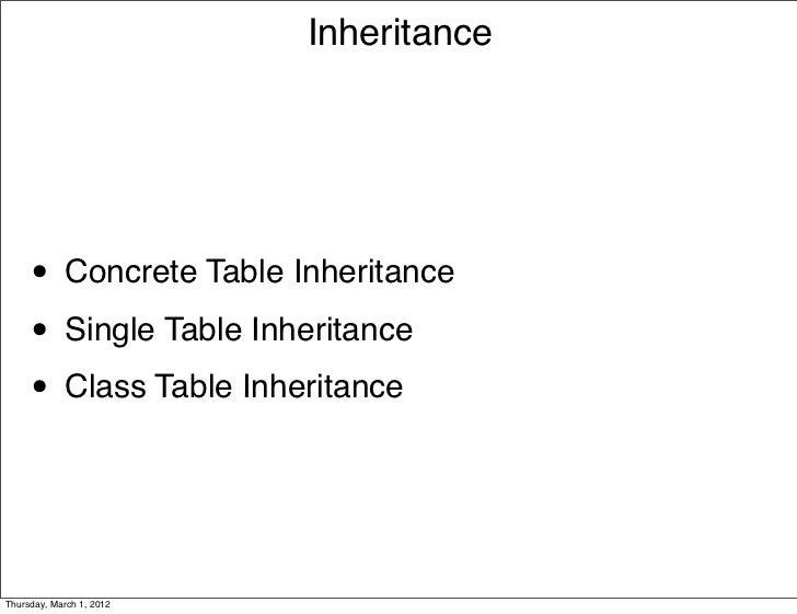 Inheritance     • Concrete Table Inheritance     • Single Table Inheritance     • Class Table InheritanceThursday, March 1...