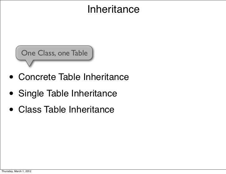 Inheritance               One Class, one Table     • Concrete Table Inheritance     • Single Table Inheritance     • Class...