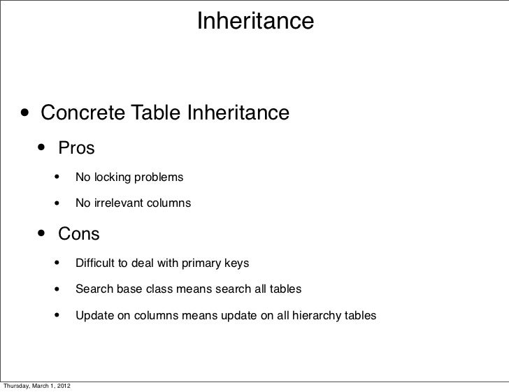 Inheritance     • Concrete Table Inheritance           •      Pros                 •        No locking problems           ...