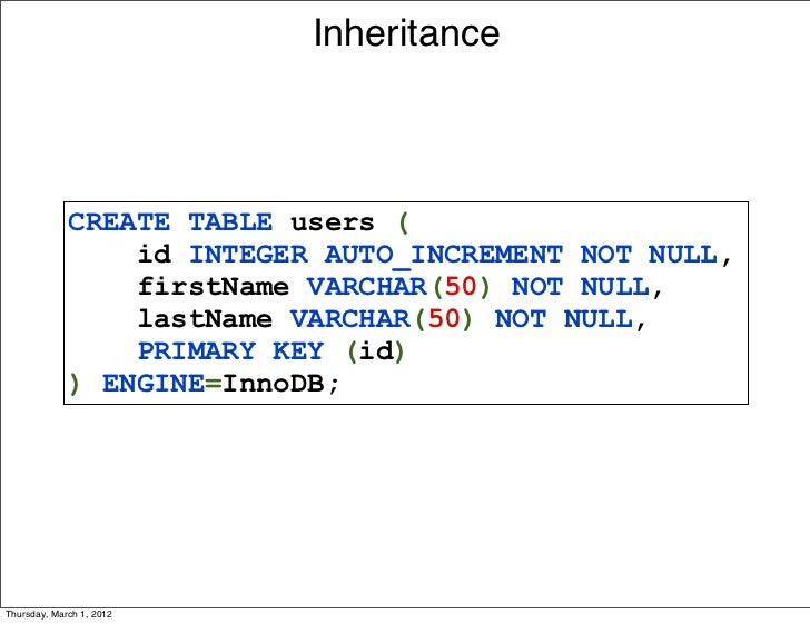 Inheritance             CREATE TABLE users (                 id INTEGER AUTO_INCREMENT NOT NULL,                 firstName...