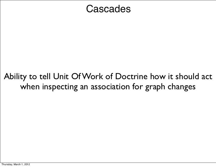 Cascades Ability to tell Unit Of Work of Doctrine how it should act      when inspecting an association for graph changesT...