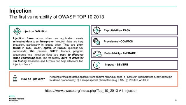Injection The first vulnerability of OWASP TOP 10 2013 4 https://www.owasp.org/index.php/Top_10_2013-A1-Injection Injectio...