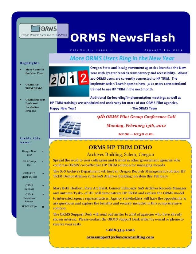 ORMS NewsFlash                                  V o l u m e   2    ,   I s s u e   1                 J a n u a r y   1 1 ,...