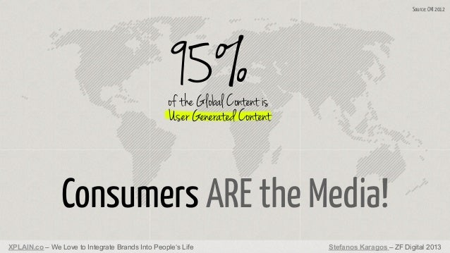 Source: CMI 2012  95%  of the Global Content is User Generated Content  Consumers ARE the Media! XPLAIN.co – We Love to In...