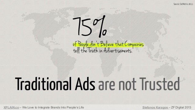 Source: SatMetrix 2011  75%  of People don't Believe that Companies tell the Truth in Advertisements.  Traditional Ads are...