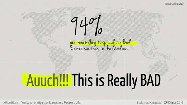 Source: Saleforce 2012  94%  are more willing to spread the Bad Experience than to the Good one.  Auuch!!! This is Really ...