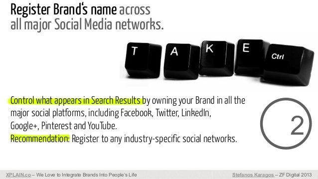 Register Brand's name across all major Social Media networks.  Control what appears in Search Results by owning your Brand...