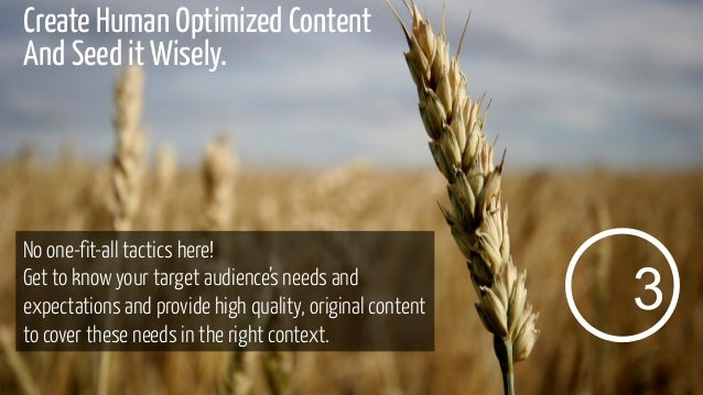 Create Human Optimized Content And Seed it Wisely.  No one-fit-all tactics here! Get to know your target audience's needs ...