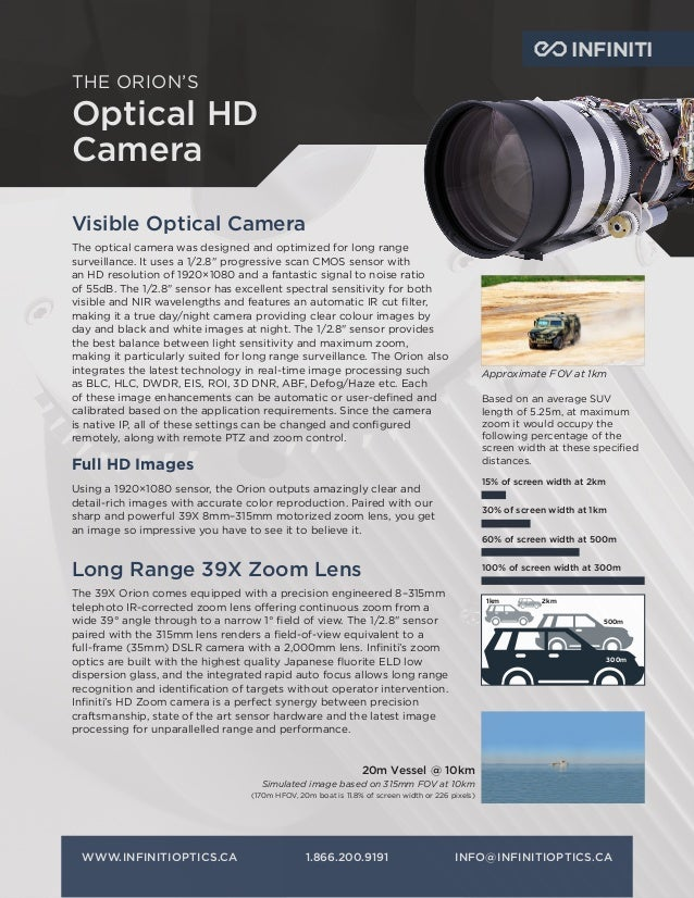 THE ORION'S Optical HD Camera WWW.INFINITIOPTICS.CA1.866.200.9191INFO@INFINITIOPTICS.CA INFINITI Visible Optical Camera ...