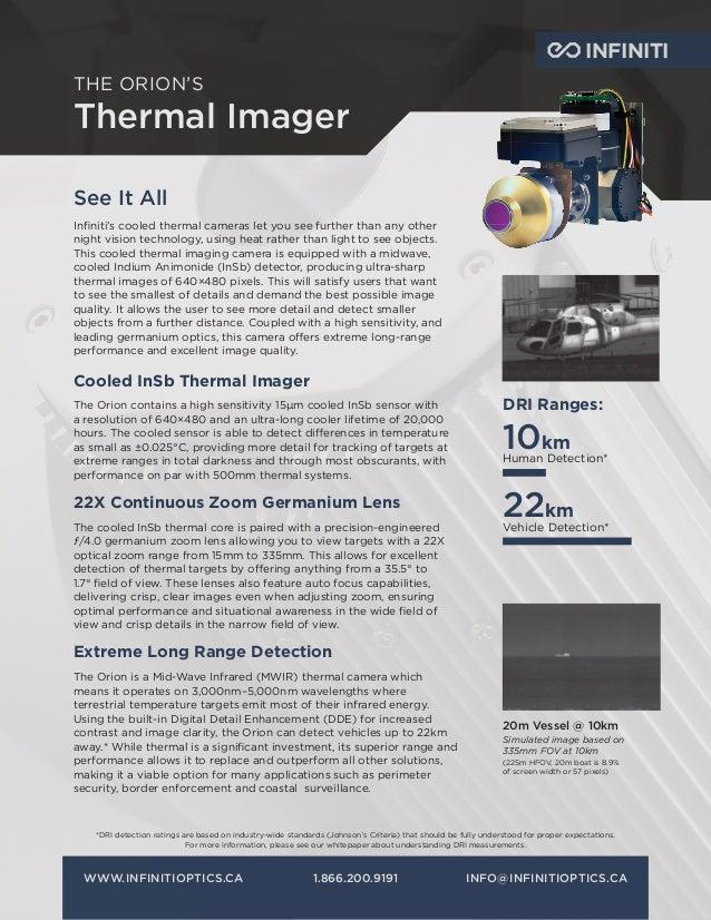 INFINITI THE ORION'S Thermal Imager WWW.INFINITIOPTICS.CA1.866.200.9191INFO@INFINITIOPTICS.CA DRI Ranges: 10km Human Det...