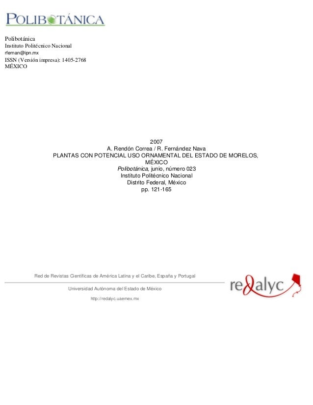 PolibotánicaInstituto Politécnico Nacionalrfernan@ipn.mxISSN (Versión impresa): 1405-2768MÉXICO2007A. Rendón Correa / R. F...