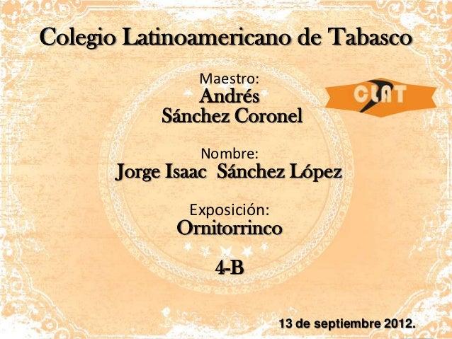 Colegio Latinoamericano de Tabasco                Maestro:               Andrés           Sánchez Coronel                N...