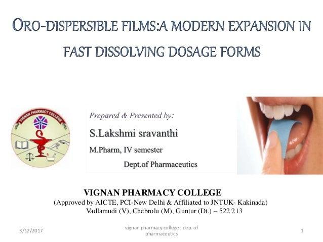 3/12/2017 vignan pharmacy college , dep. of pharmaceutics 1 VIGNAN PHARMACY COLLEGE (Approved by AICTE, PCI-New Delhi & Af...
