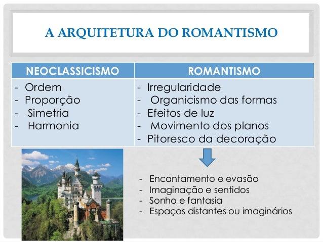 A ARQUITETURA DO ROMANTISMO NEOCLASSICISMO ROMANTISMO - Ordem - Proporção - Simetria - Harmonia - Irregularidade - Organic...