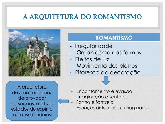 A ARQUITETURA DO ROMANTISMO ROMANTISMO - Irregularidade - Organicismo das formas - Efeitos de luz - Movimento dos planos -...