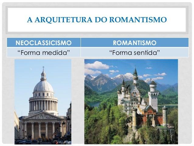 "A ARQUITETURA DO ROMANTISMO NEOCLASSICISMO ROMANTISMO ""Forma medida"" ""Forma sentida"""