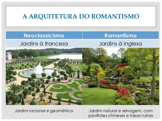 A ARQUITETURA DO ROMANTISMO Neoclassicismo Romantismo Jardins à francesa Jardins à inglesa Jardim racional e geométrico Ja...