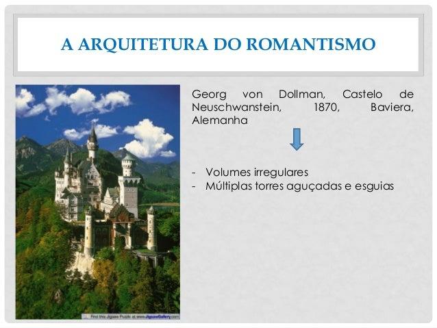 A ARQUITETURA DO ROMANTISMO Georg von Dollman, Castelo de Neuschwanstein, 1870, Baviera, Alemanha - Volumes irregulares - ...