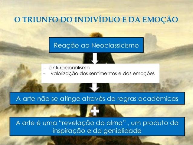 O TRIUNFO DO INDIVÍDUO E DA EMOÇÃO Reação ao Neoclassicismo - anti-racionalismo - valorização dos sentimentos e das emoçõe...