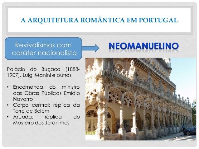 A ARQUITETURA ROMÂNTICA EM PORTUGAL Revivalismos com caráter nacionalista Palácio do Buçaco (1888- 1907), Luigi Manini e o...