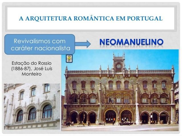 A ARQUITETURA ROMÂNTICA EM PORTUGAL Estação do Rossio (1886-87), José Luís Monteiro Revivalismos com caráter nacionalista