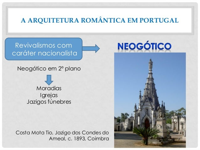 A ARQUITETURA ROMÂNTICA EM PORTUGAL Neogótico em 2º plano Moradias Igrejas Jazigos fúnebres Revivalismos com caráter nacio...