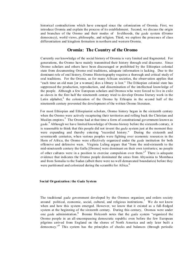 Oromo peoplehood historical and cultural overview