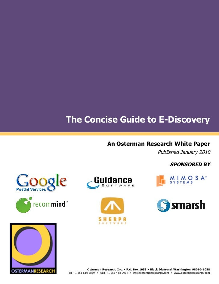 !                        The Concise Guide to E-Discovery !       !                                                    An ...