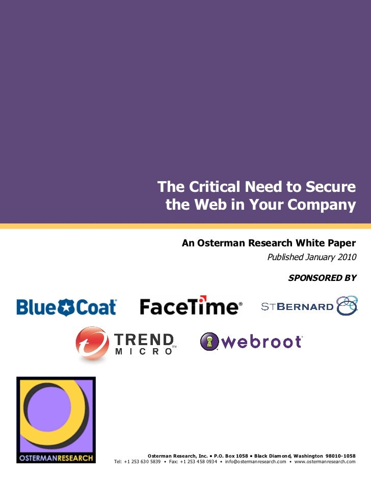 The Critical Need to Secure                                            the Web in Your Company by                         ...