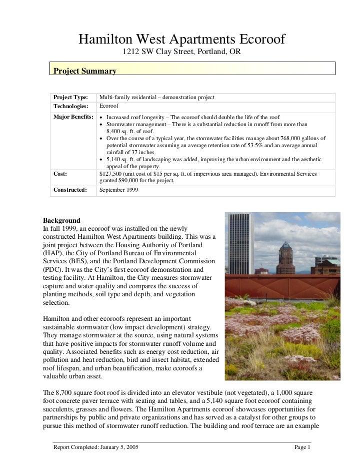 Hamilton West Apartments Ecoroof                               1212 SW Clay Street, Portland, OR   Project Summary   Proje...