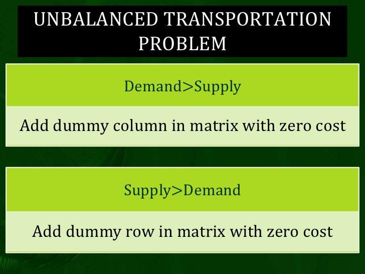 Operation research transportation problem
