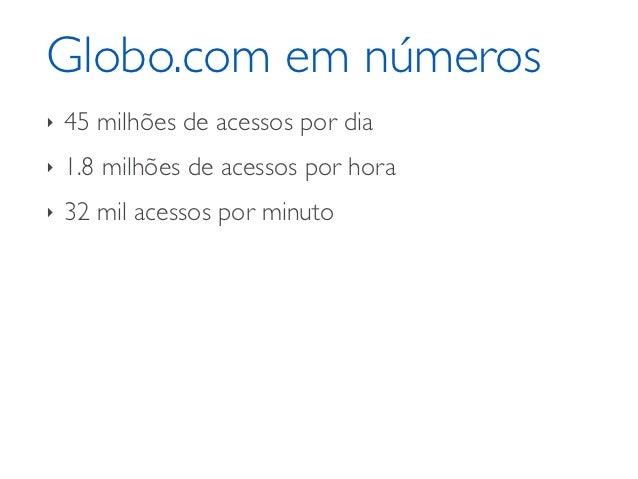 Globo.com em números‣   45 milhões de acessos por dia‣   1.8 milhões de acessos por hora‣   32 mil acessos por minuto
