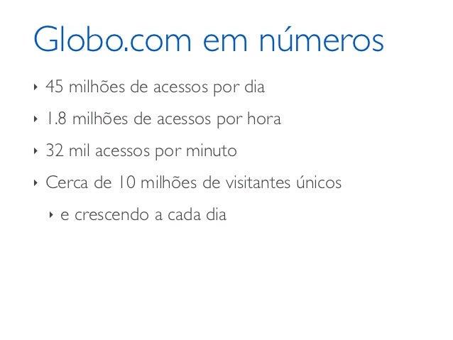 Globo.com em números‣   45 milhões de acessos por dia‣   1.8 milhões de acessos por hora‣   32 mil acessos por minuto‣   C...