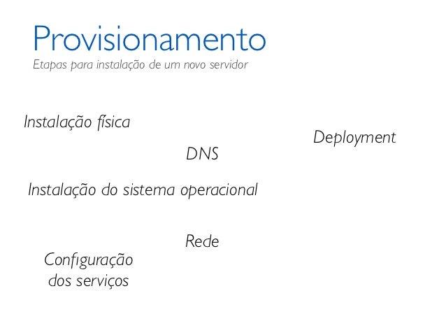 Provisionamento Etapas para instalação de um novo servidorInstalação física                                              D...