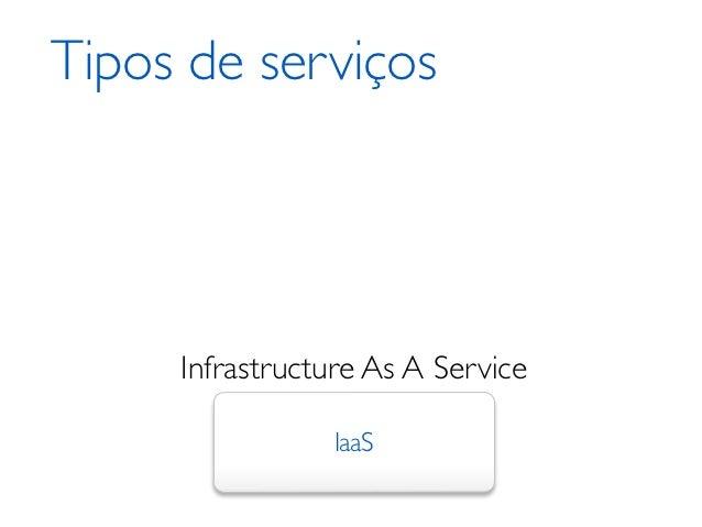 Tipos de serviços     Infrastructure As A Service                IaaS