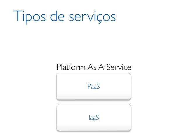 Tipos de serviços       Platform As A Service               PaaS                IaaS