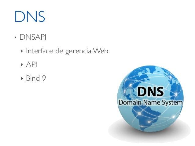 DNS‣   DNSAPI    ‣   Interface de gerencia Web    ‣   API    ‣   Bind 9    ‣   Configuração sobre GIT    ‣   OpenSource    ...