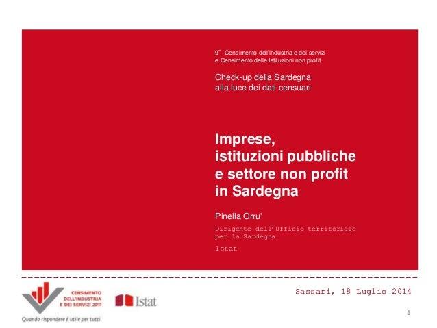 Sassari, 18 Luglio 2014Sassari, 18 Luglio 2014 Principali innovazioni e risultati del Censimento Censimento dell'industria...