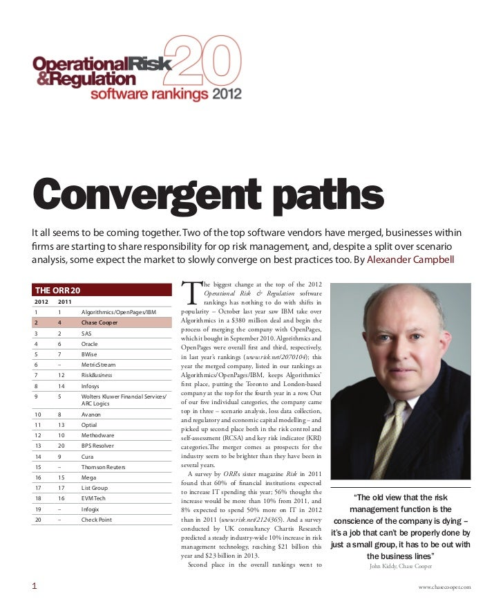 Convergent pathsIt all seems to be coming together. Two of the top software vendors have merged, businesses withinfirms ar...