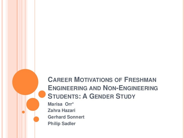 Career Motivations of Freshman Engineering and Non-Engineering Students: A Gender Study<br />Marisa  Orr*<br />Zahra Hazar...