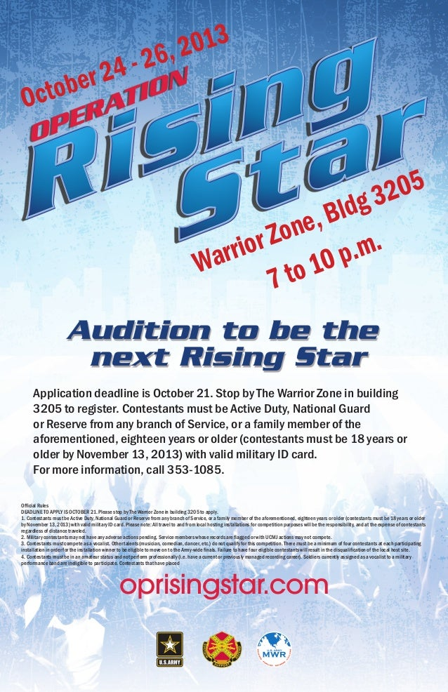 Warrior Zone, Bldg 3205 Application deadline is October 21. Stop by The Warrior Zone in building 3205 to register. Contest...