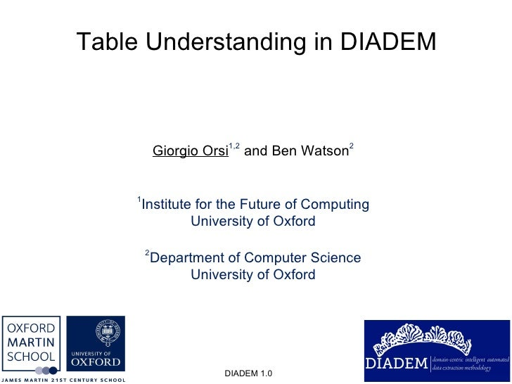 Table Understanding in DIADEM DIADEM 1.0 Giorgio Orsi 1,2  and Ben Watson 2 1 Institute for the Future of Computing Univer...