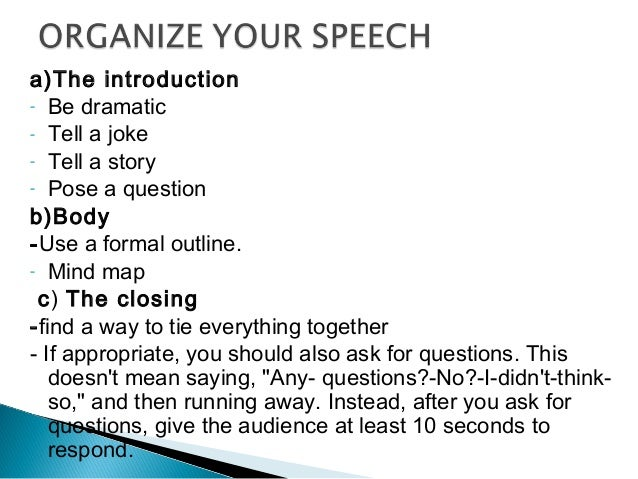 How to Write a Formal Speech