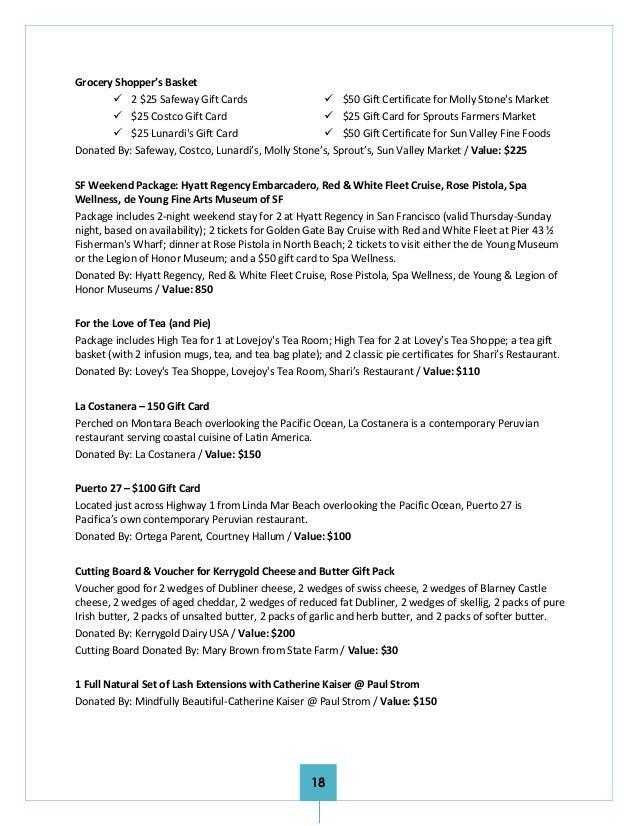 Ortega's 2016 Auction Program