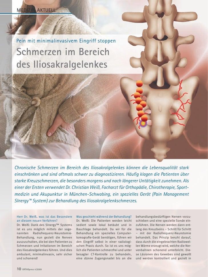 MEDIZIN AKTUELL      Pein mit minimalinvasivem Eingriff stoppen   Schmerzen im Bereich  des Iliosakralgelenkes     Chronis...