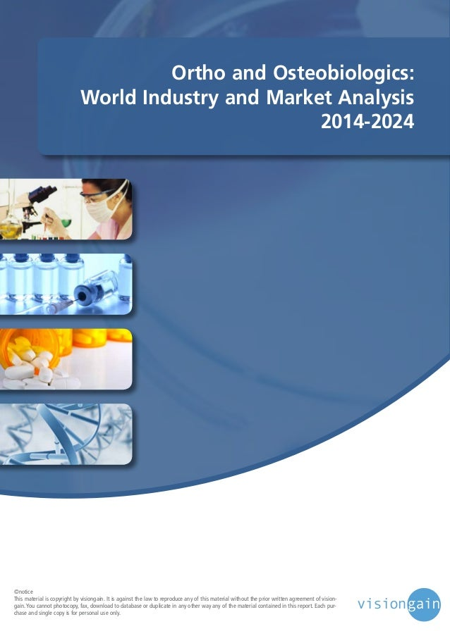 Ortho and Osteobiologics: World Industry and Market Analysis 2014-2024  ©notice This material is copyright by visiongain. ...